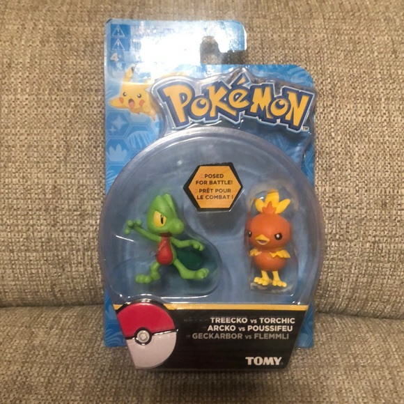 Pokemon Action Pose Treecko vs Torchic Mini Figure